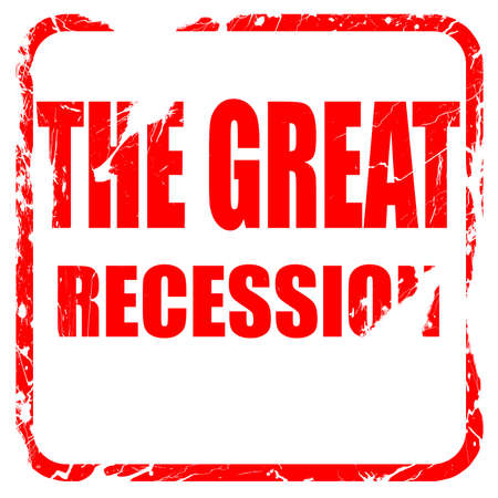 Recession sign background with some smooth lines, red rubber stamp with grunge edges