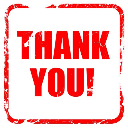 gratefulness: thank you, red rubber stamp with grunge edges
