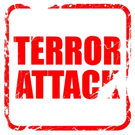 terror: terror attack, red rubber stamp with grunge edges Stock Photo