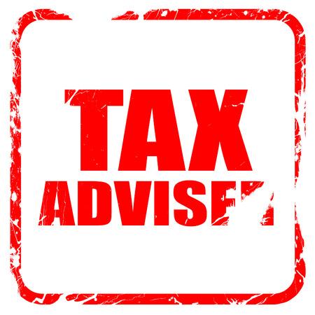 adviser: tax adviser, red rubber stamp with grunge edges