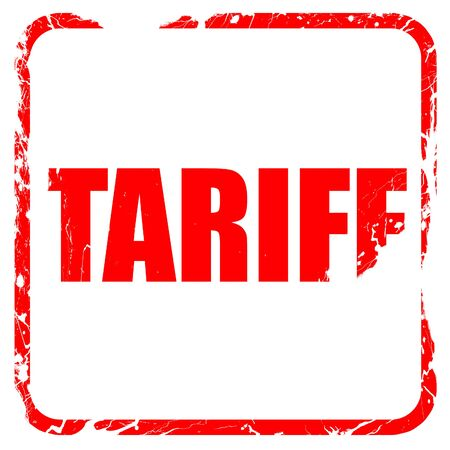 tariff: tariff, red rubber stamp with grunge edges Stock Photo