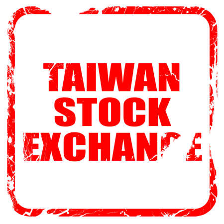 hing: taiwan stock exchange, red rubber stamp with grunge edges