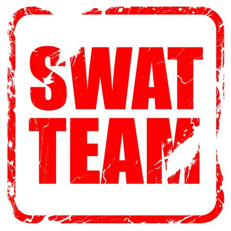 swat teams: swat team, red rubber stamp with grunge edges