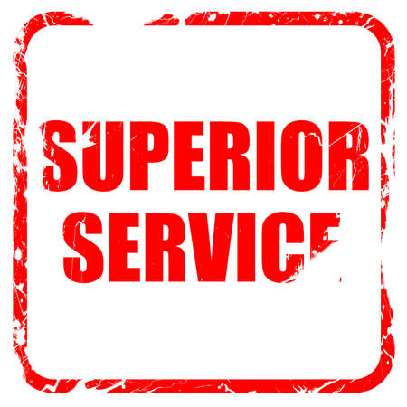 superior: superior service, red rubber stamp with grunge edges