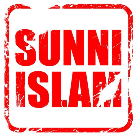 sunni: sunni islam, red rubber stamp with grunge edges Stock Photo