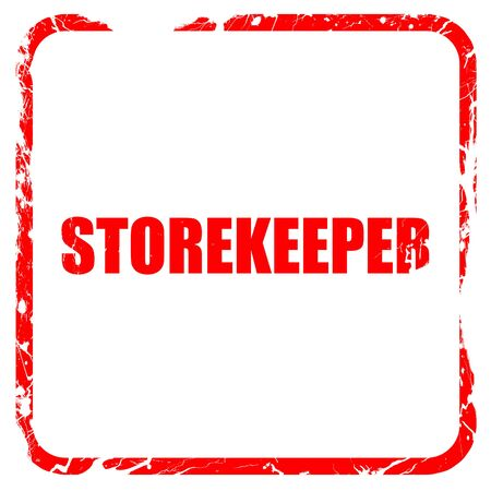 stockman: storekeeper, red rubber stamp with grunge edges