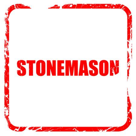 stonemason: stonemason, red rubber stamp with grunge edges