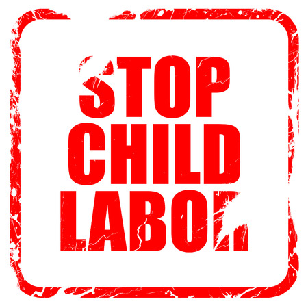 illegality: stop child labor, red rubber stamp with grunge edges Stock Photo