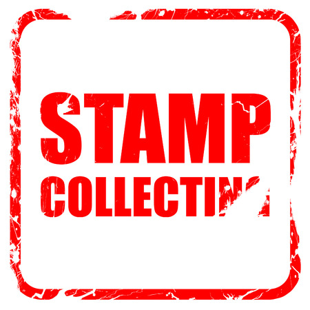 stamp collecting: stamp collecting, red rubber stamp with grunge edges