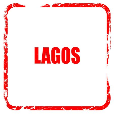 lagos: lagos, red rubber stamp with grunge edges Stock Photo