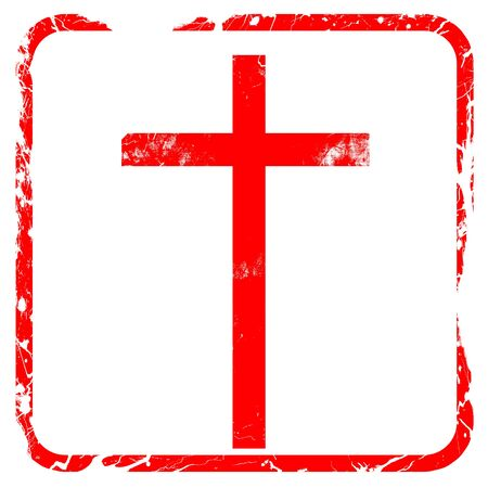 christian trust: Christian cross icon with some soft smooth lines, red rubber stamp with grunge edges