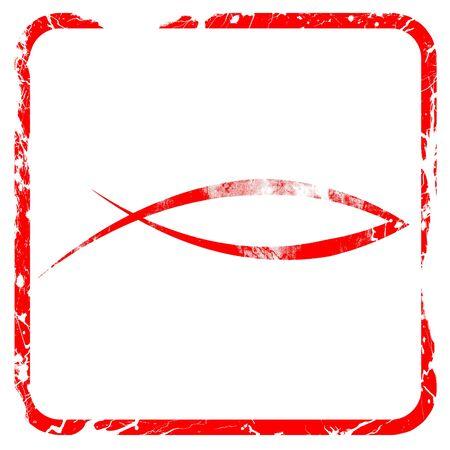 pez cristiano: símbolo cristiano de los pescados con unas líneas suaves suaves, sello de goma de color rojo con bordes grunge