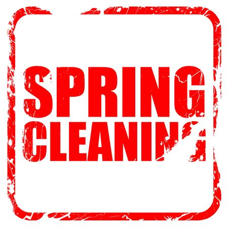 spring cleaning: spring cleaning, red rubber stamp with grunge edges Stock Photo
