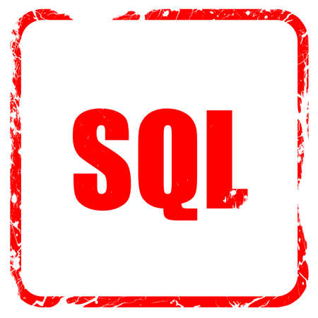 sql: sql, red rubber stamp with grunge edges