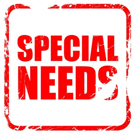 special needs: special needs, red rubber stamp with grunge edges