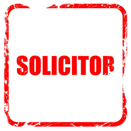 solicitor: solicitor, red rubber stamp with grunge edges Stock Photo