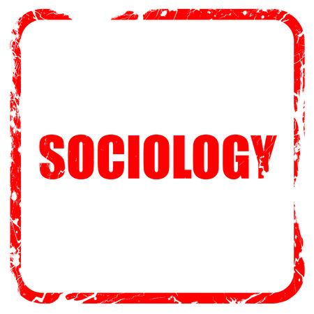 sociologia: sociología, sello de goma de color rojo con bordes grunge