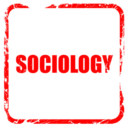 sociology: sociology, red rubber stamp with grunge edges