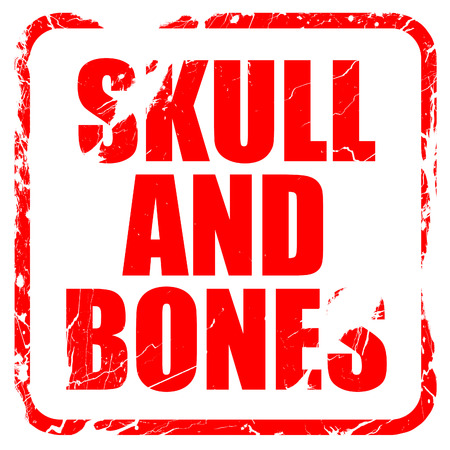 secret society: skull and bones, red rubber stamp with grunge edges Stock Photo