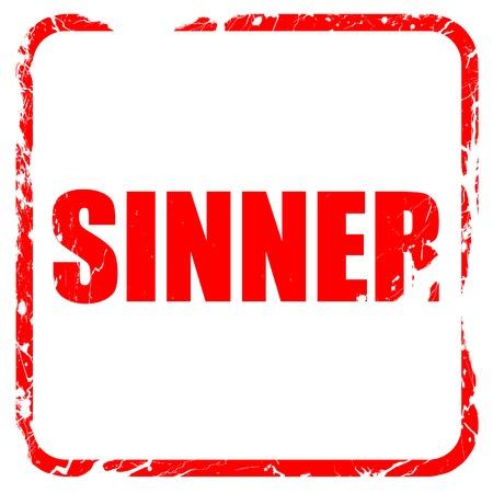 sinner: sinner, red rubber stamp with grunge edges