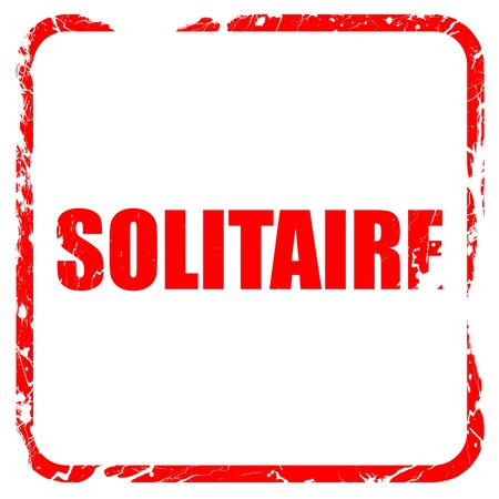 solitaire: solitaire, red rubber stamp with grunge edges Stock Photo