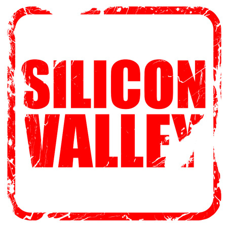 silicio: silicon valley, red rubber stamp with grunge edges