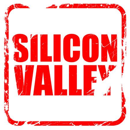 silicio: Silicon Valley, sello de goma de color rojo con bordes grunge Foto de archivo