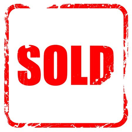 selling service: sold sign background with some soft smooth lines, red rubber stamp with grunge edges Stock Photo