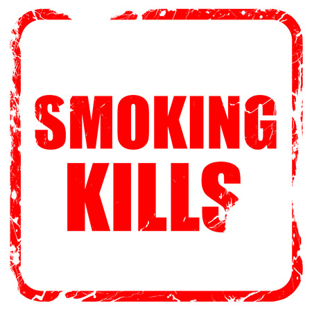 killing cancer: smoking kills, red rubber stamp with grunge edges