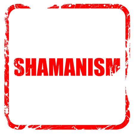 shamanism: shamanism, red rubber stamp with grunge edges