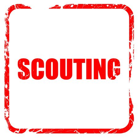 scouting: scouting, red rubber stamp with grunge edges