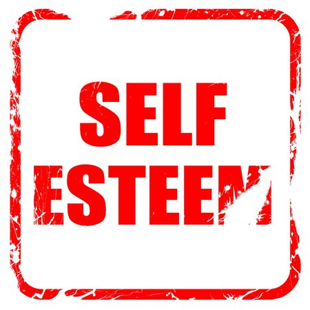 self worth: self esteem, red rubber stamp with grunge edges