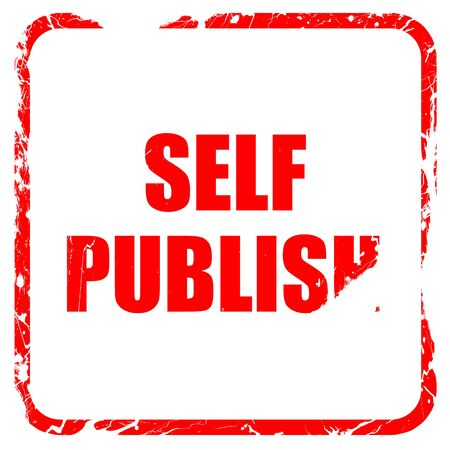 self publishing, red rubber stamp with grunge edges Stock Photo