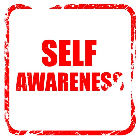 self worth: self awareness, red rubber stamp with grunge edges Stock Photo