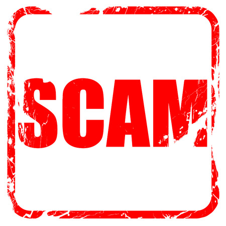 scamming: scam, red rubber stamp with grunge edges