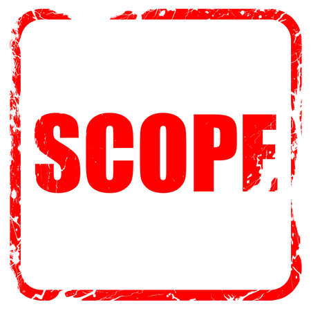 assessment system: scope, red rubber stamp with grunge edges