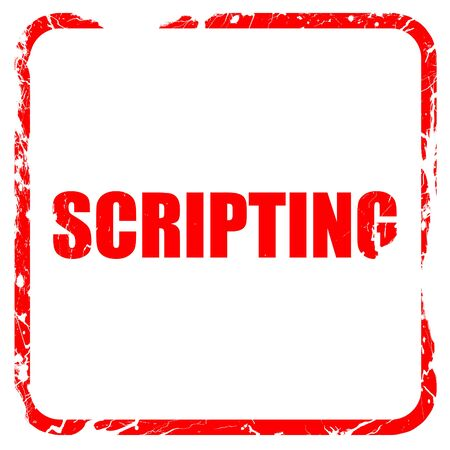 scripting: scripting, red rubber stamp with grunge edges