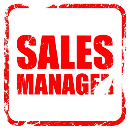 sales manager: sales manager, red rubber stamp with grunge edges