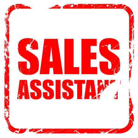 sales assistant: sales assistant, red rubber stamp with grunge edges Stock Photo