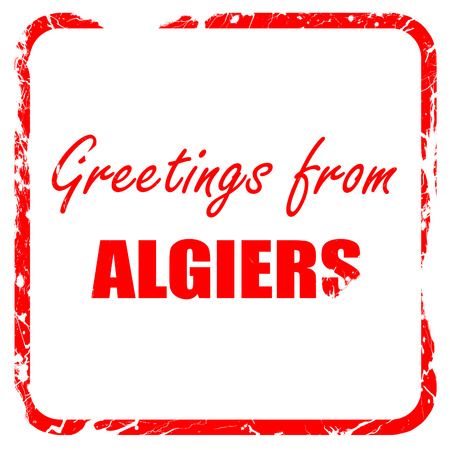 algiers: Greetings from algiers with some smooth lines, red rubber stamp with grunge edges