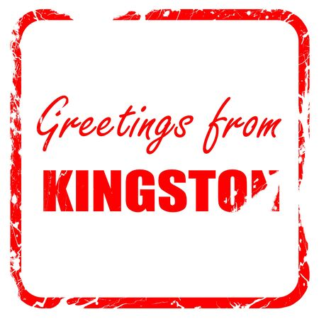 kingston: Greetings from kingston with some smooth lines, red rubber stamp with grunge edges Stock Photo