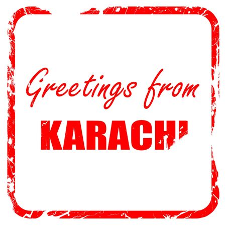 karachi: Greetings from karachi with some smooth lines, red rubber stamp with grunge edges