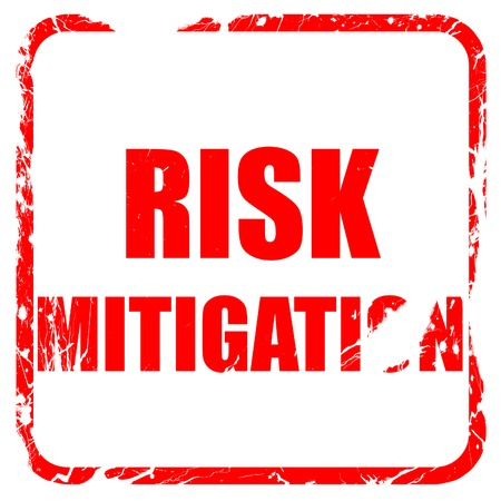 mitigating: Risk mitigation sign with some smooth lines and highlights, red rubber stamp with grunge edges Stock Photo