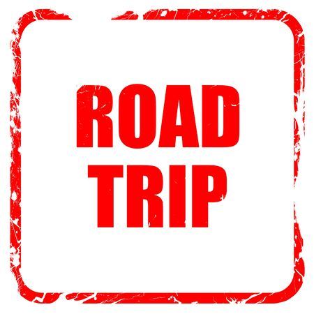 roadtrip: roadtrip, red rubber stamp with grunge edges