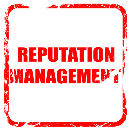 public opinion: reputation management, red rubber stamp with grunge edges