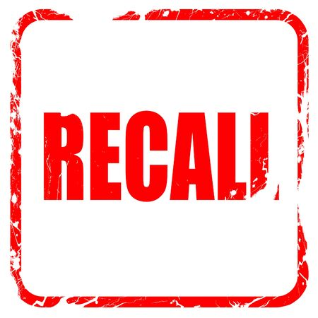 recall: recall, red rubber stamp with grunge edges