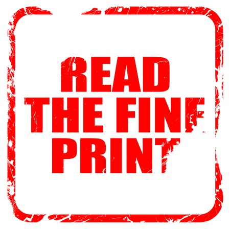 fine print: read the fine print, red rubber stamp with grunge edges Stock Photo