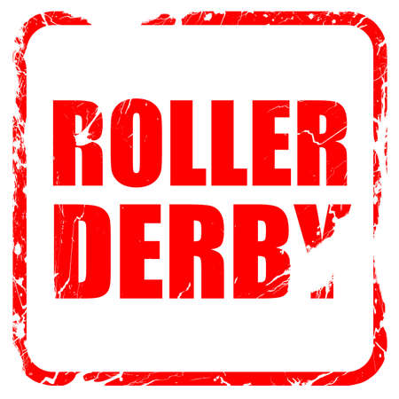 isolation tank: roller derby, red rubber stamp with grunge edges