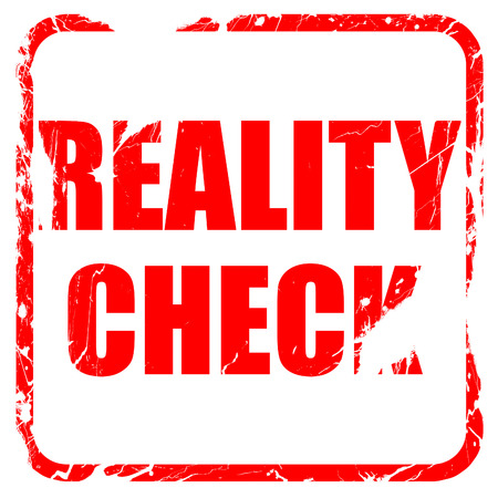 factual: reality check, red rubber stamp with grunge edges Stock Photo