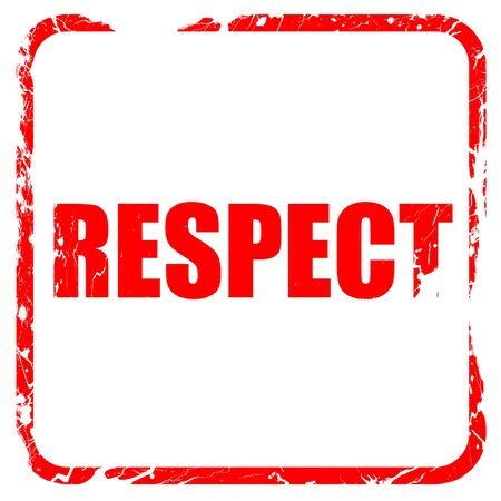 respectful: respect, red rubber stamp with grunge edges